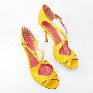 Judith Lieber sandal yellow snakeskin print 7.5B